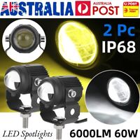 2pcs 1.3in Motorcycle LED Spotlights Spot Light 60W 6000lm High Low Beam Lamp AU