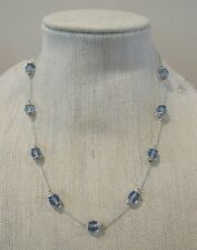 Premier Designs Jewelry Blue Velvet Necklace ~ HTF ~ Silver w/Blue Beads