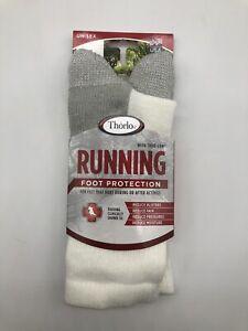 Thorlos XJ Max Cushion Running Crew Socks, White/Platinum, Medium