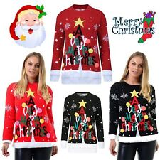 New Womens Men Retro Merry Christmas Tree Pom Pom Jumper Unisex Novelty Pullover