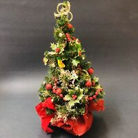 """VTG 1980s Mini Christmas Tree Weighted Stand 12""""x7"""" Decorated Ornaments Green"""