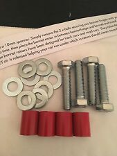 M8 X 4 22mm Red Bonnet Raisers/Lifters/Spacers Universal Fit + Bolts + Washers