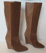 NEW Seven 7 For All Mankind Tan Brown Nappa Leather Suede Ora Wedge Boots 8