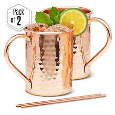 ▶ Moscow Mule Copper Mugs Handcrafted Pure Solid Copper Mug 16oz Gift Set of 2