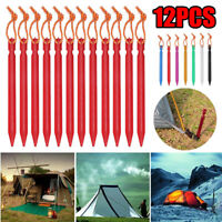 12PCS Aluminum Alloy Tent Nail Pegs Stakes With Rope Lightweight Camping  ~ !
