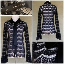 Poleci Black Lace Shirt Satin Collar & Tie Lovely Size Small