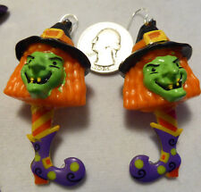 WITCH HAT Purple Boot Shoes SCARY 925 EARRINGS HALLOWEEN Handcrafted USA Nora's