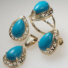 14K Gold Matching Turquoise Earrings, Pendant & Ring, Ring Sizes 4 to 9.5 S164: