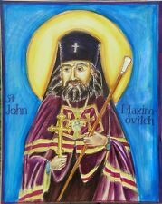 Original freshly painted icon of St. John Maximovitch with a blue background