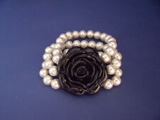 New Striking Bracelet of Three Strands of Faux Pearls & Black Rose