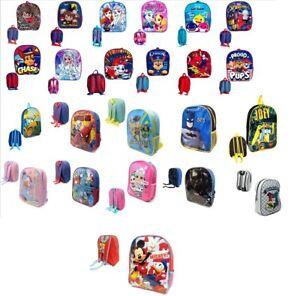 New Boys Girls Kids School Backpack Junior Toddlers Character Rucksack Lunch Bag