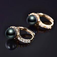 Gold Filled Womens Pearl Grey Swarovski Crystal Shinning Hoop Earrings Jewellery