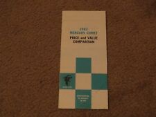 1962 MERCURY COMET RARE DEALER ONLY SALESMANS PRICE VALUE COMPARISON BROCHURE