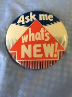 """VINTAGE """"Ask Me Whats New"""" Button PIN *Abbotts Dairy Dixie ice cream milk rare"""