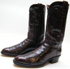 MENS VINTAGE DAN POST BURGUNDY LEATHER COWBOY WESTERN BOOTS SZ 8.5~1/2 D