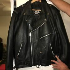 Men's Black Leather Perfecto Style Motorcycle Jacket Size 48 XL