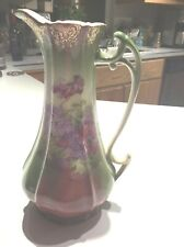 LARGE ANTIQUE Hand Painted Limoges Style Pitcher Porcelain China Victorian