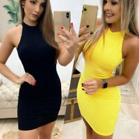 ❤️Women Halter Neck Backless Mini Dress Ladies Casual Party Sexy Bodycon Dresses
