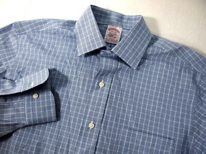 NWT Brooks Brothers Mens Dress Shirt 14 1/2 32 Blue Plaid Long Sleeve Madison