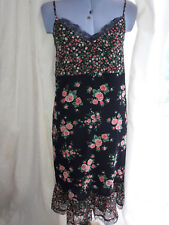 NEW M & S Black & Pink Floral Lace Edged Sleeveless Dress - Size 8 -  Small