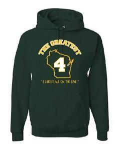 Brett FAVRE Green Bay PACKERS NFL Hooded Fleece Sweatshirt Hood GREATEST PLAYER