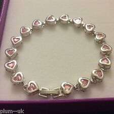 "GB Pink Sapphire Heart Silver Bracelet (white gold GF) PlumBOXD 7.25""/18cm x 8mm"