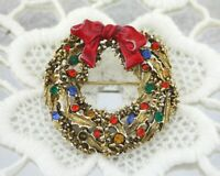Art Signed Gold Red Green Blue Rhinestone Holiday Christmas Wreath Brooch Pin