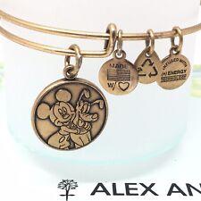 Disney Parks Alex and Ani Mickey Pluto Gold Tone Bangle Charm Bracelet RETIRED