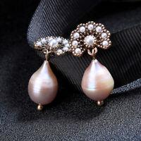 Boucles d'oreilles  Doré Queue de Paon Perle Baroque Goute Veritable Rose XX32