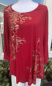 JM Collection, Red With Gild Design, Long Sleeve Top, Plus Size, 1X, NWT