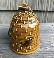 Vintage Honey Bee Ceramic Jar With Lid Brown Japan Honeycomb