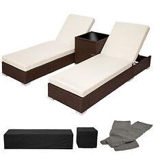 2x Tumbona chaise longue de aluminio poli ratán + Mesa de jardín terraza antiguo