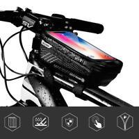 Waterproof Mountain MTB Bike Front Bag Bicycle Mobile Phone Holder Case Black