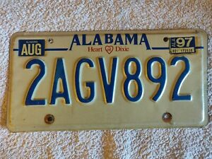Alabama 90's Heart of Dixie 2AGV892 Genuine Pre-Owned USA American License Plate