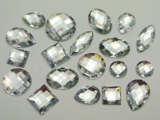 100 Clear Color Flatback Acrylic Rhinestone Assorted Shape No Hole