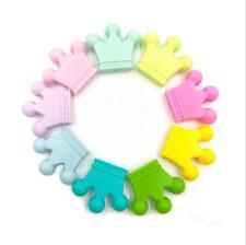 NEW 5pcs Food grade silicone Teether Crown beads Baby Pacifier clip Molar toy