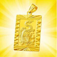 "24k Yellow Gold Opulent Dragon 1-1/4"" 1-3/4"" Pendant Only + Free GiftPkg D451P"