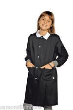 GREMBIULE lungo Bambina Femmina Per Divisa Scuola Tinta Unita NERO Unisex 301