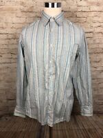 Faconnable Jeans Facoclub Multicolor Striped Mens Button Front L/S Shirt Large