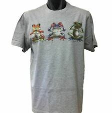 New Funny Three Wise Frogs T-Shirt (Grey Marle, Regular and Big Sizes)