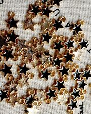 Star charms 10 gold & black tiny pendant charm jewellery supplies C454
