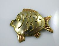 Vintage Fish Embossed Pendant Brooch Pin Combination Copper Gold Tone Large