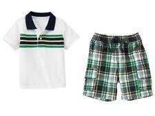 Gymboree Prepster Pup White Stripe Polo Shirt Plaid Cargo Shorts Set Boys 3T NWT