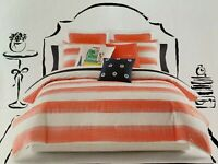 Kate Spade Full/Queen Comforter Set w/2 Standard Shams Rugby Stripe Coral White