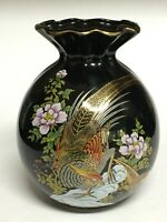 "MCI Japan Gilded Pheasant Vase Black and Gold Ceramic 7"""