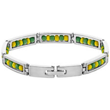 """Stainless Steel Link Wristband Inside Babalawo Unisex Santeria Orula Bracelet 8"""""""