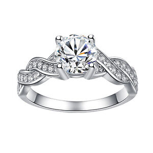 Women's Sterling Silver Cubic Zirconia 1.28 Ct Infinity Promise Engagement Ring