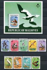 MALEDIVEN MALDIVE 1977 Vögel Birds Uccelli Oiseaux 711-719 + Block 46 ** MNH