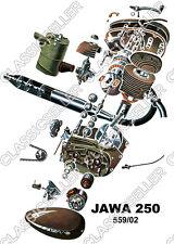 Jawa 250 moto 559/02 póster cartel explosión dibujo motor engranaje escudo