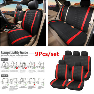 9Pcs Universal Car Seat Covers Front Rear Full Set 3MM Sponge & Polyester Red